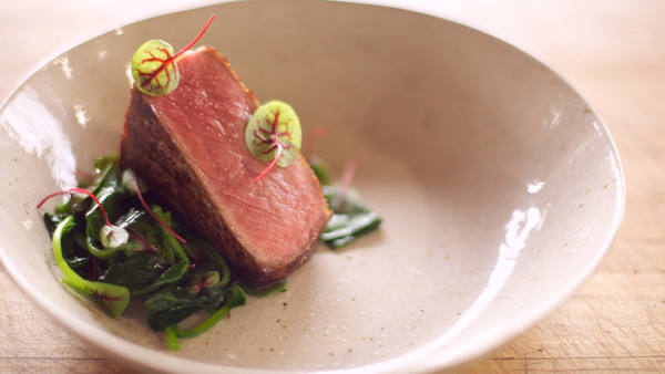 Coffee Butter Steak with Spinach