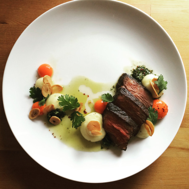 Sebastian's gorgeous dish, featuring beef chuck transformed via sous vide cooking.